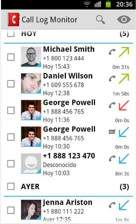Call Log Monitor regulador de llamadas en Android
